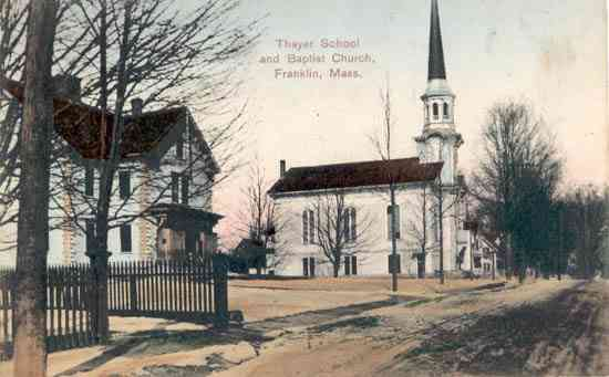 Franklin, Massachusetts, USA - Thayer School and Baptist Church, Franklin, Mass.