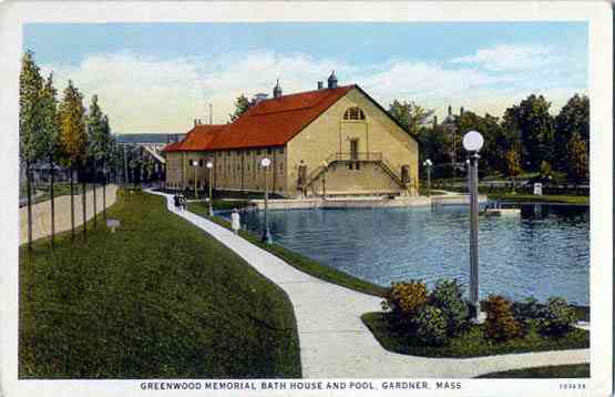 Gardner, Massachusetts, USA - Greenwood Memorial Bath House and Pool, Gardner, Mass.