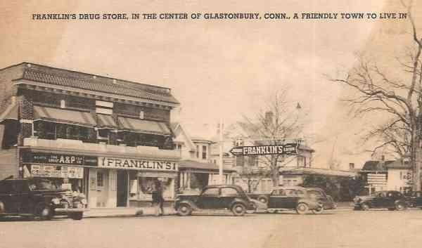 Glastonbury, Connecticut, USA - Franklin's Drug Store, in the center of Glastonbury, Conn., A friendly town to live in