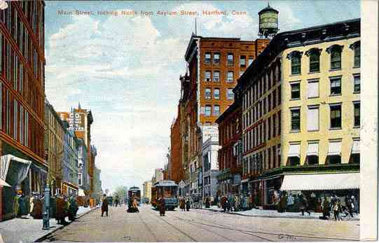 Hartford, Connecticut, USA - Main Street, looking North from Asylum Street, Hartford, Conn.