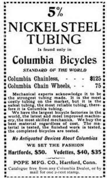 Hartford, Connecticut, USA - 5% Nickel Steel Tubing is found only in Columbia Bicycles