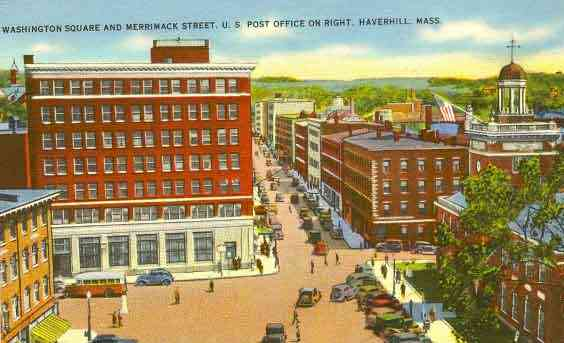 Haverhill, Massachusetts, USA (Ayers Village) - Washington Square and Merrimack Street. U.S. Post Office on right. Haverhill, Mass.