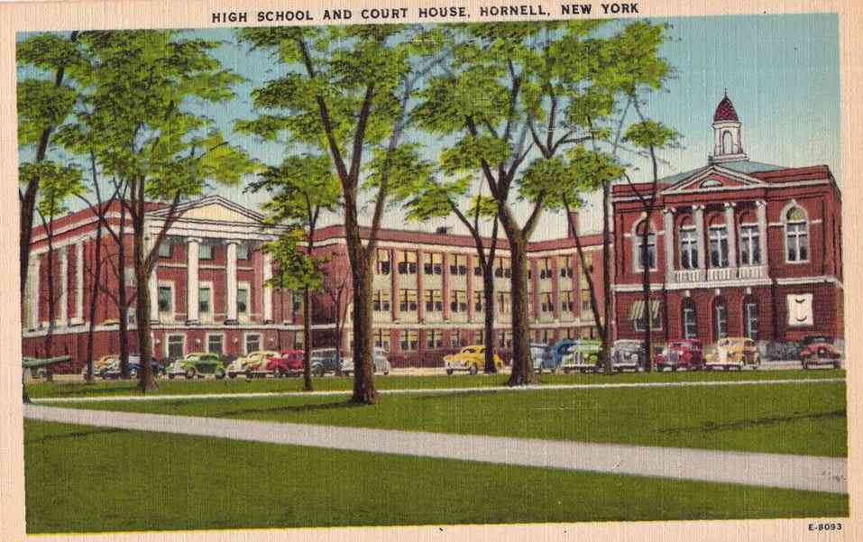 Hornell, New York, USA (Hornellsville) - High School and Court House, Hornell, New York