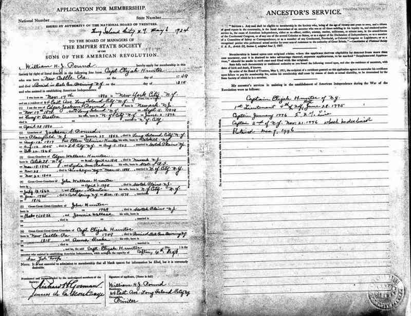 Elijah HUNTER - U.S., Sons of the American Revolution Membership Applications, 1889-1970