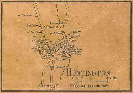 Huntington, Vermont, USA - 1857 Map