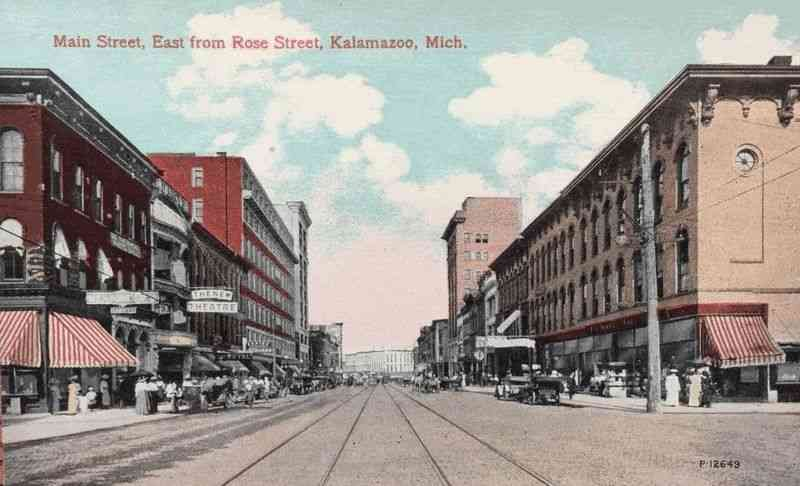 Kalamazoo, Michigan, USA - Main Street, East from Rose Street