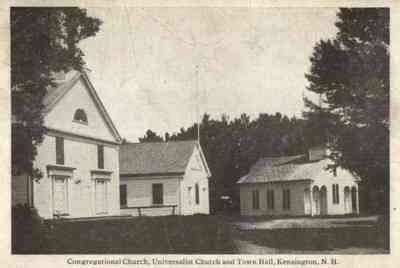 Kensington, New Hampshire, USA - Congregational Church, Universalist Church and Town Hall (1910)