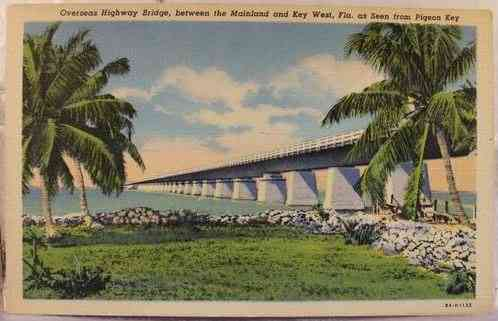 Key West, Florida, USA - Overseas Highway Bridge, between the Mainland and Key West, Fla. as Seen from Pigeon Key
