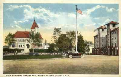 Laconia, New Hampshire, USA - Gale Memorial Library and Laconia Tavern