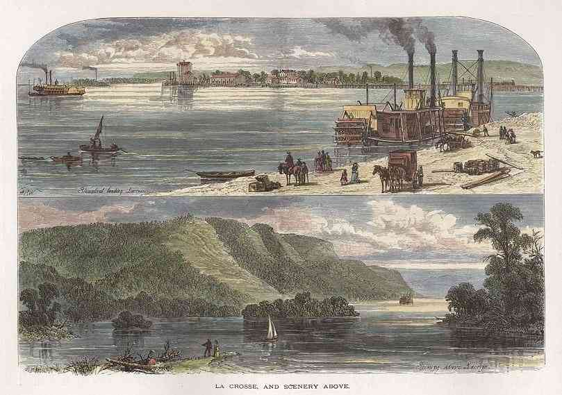 La Crosse, Wisconsin, USA (LaCrosse) - La Crosse, and Scenery Above