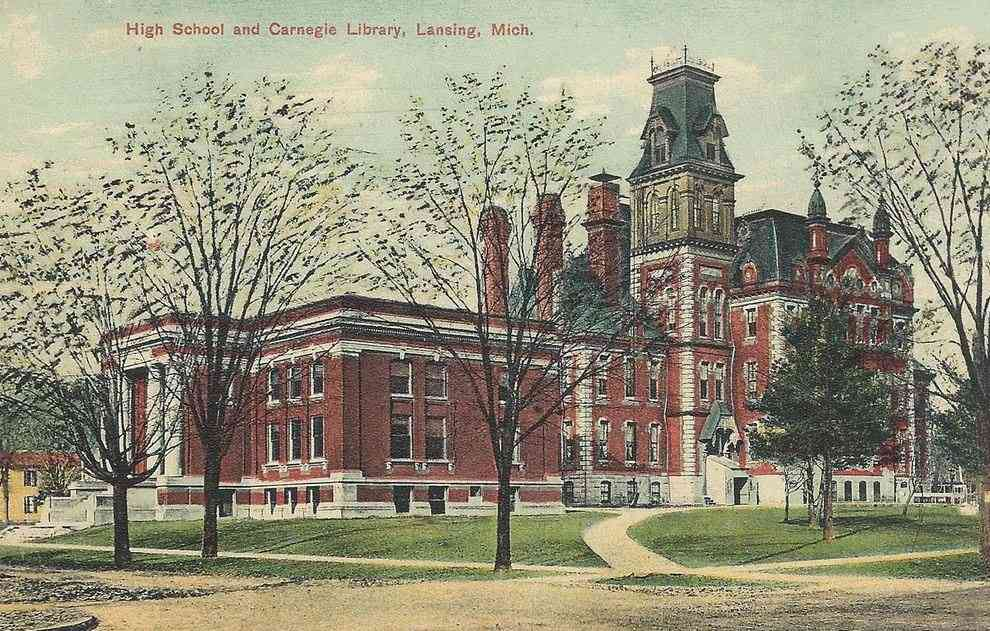 Lansing, Michigan, USA - High School and Carnegie Libary