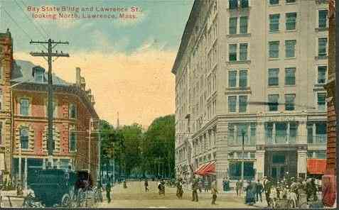 Lawrence, Massachusetts, USA - Bay State Building and Lawrence St., looking North (1916)
