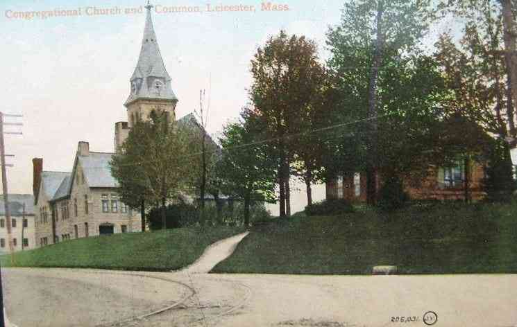 Leicester, Massachusetts, USA - Congregational Church and Common (1909)