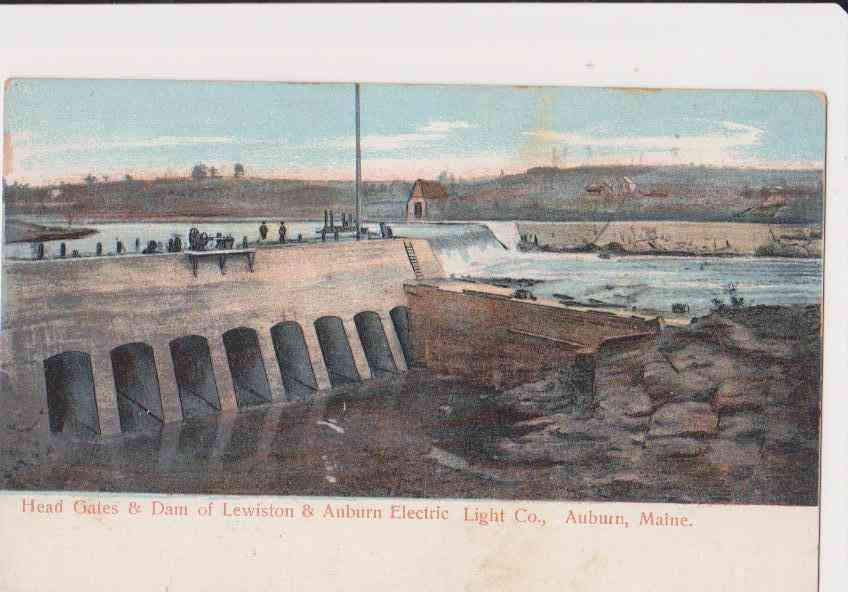 Auburn, Maine, USA - Head Gates & Dam of Lewiston & Auburn Electric Light Co., Auburn, Maine