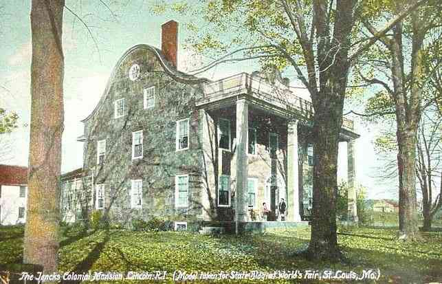 Lincoln, Rhode Island, USA (Albion) (Manville) (Fairlawn) - The Jencks Colonial Mansion, Lincoln, R.I. (Model taken for State Bldg at World's Fair, St. Louis, Mo.) (1907)