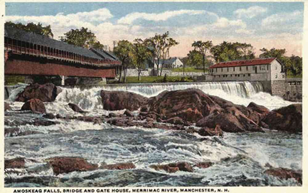 Manchester, New Hampshire, USA  - Amoskeag Falls, Bridge and Gate House, Merrimac River, Manchester, N.H.