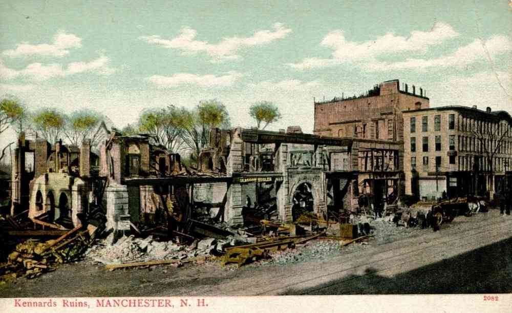 Manchester, New Hampshire, USA  - BUSINESS BLOCK BURNED.