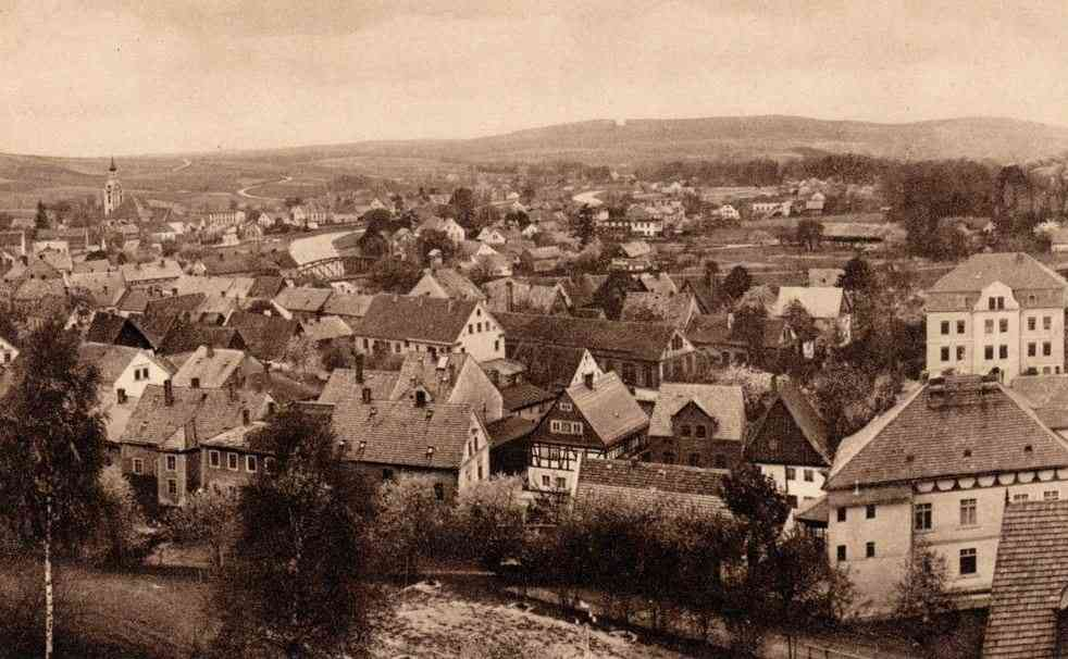 Marklissa, Silesia, Prussia, Germany (Marklissa, Schlesien, Preußen) - Panoramic view of Marklissa (around 1928)