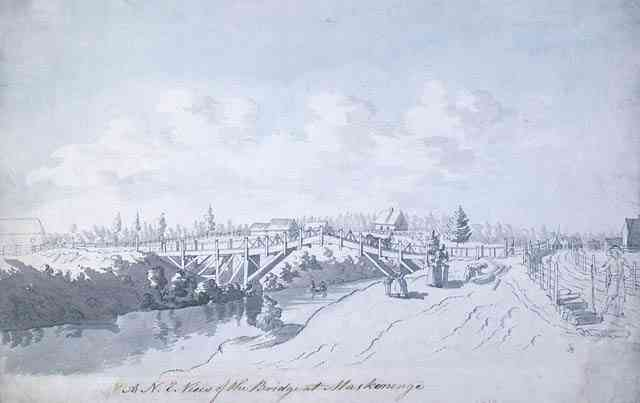 Maskinongé, Québec, Canada (St-Joseph-de-Maskinonge) - A North-East view of the bridge at Maskinonge, ( Quebec. ) abt. 1783