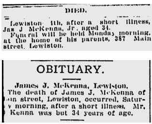James J MCKENNA - Lewiston Evening Journal, Lewiston, Maine, Saturday, May 4, 1912