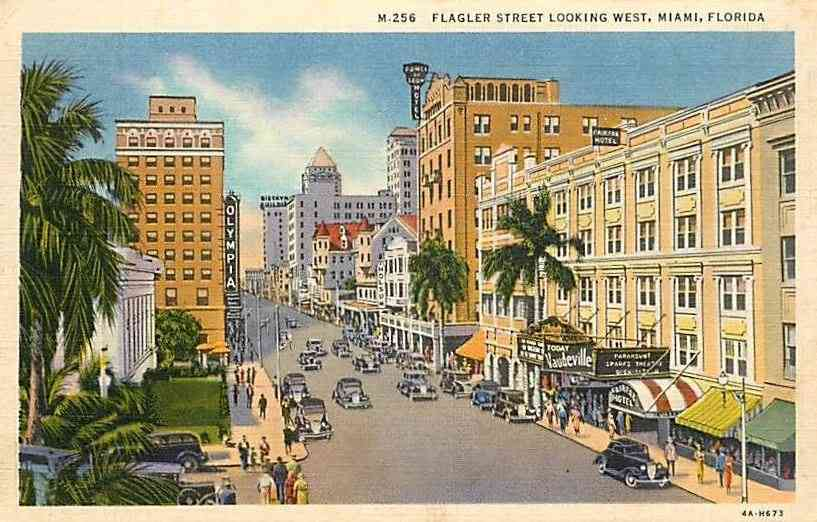 Miami, Florida, USA - Flagler Street Looking West