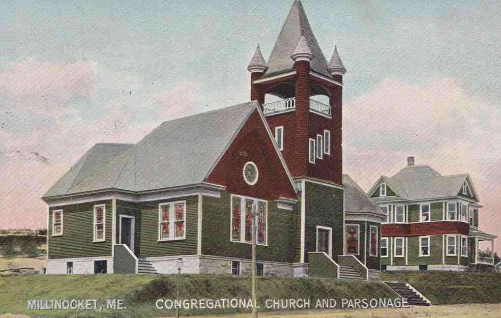 Millinocket, Penobscot, Maine, USA - Congregational Church and Parsonage