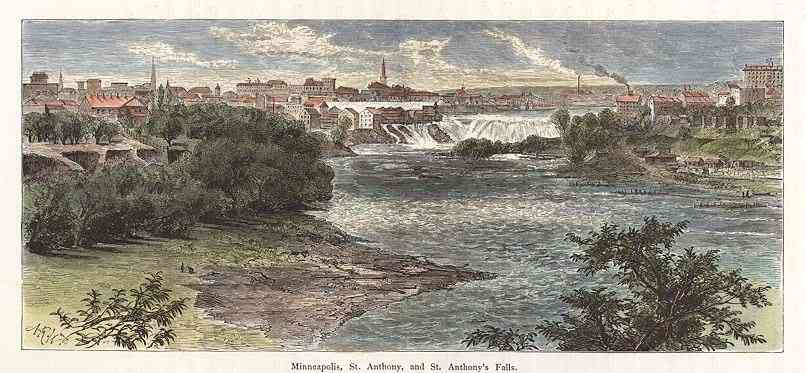 Minneapolis, Minnesota, USA - Minneapolis, St. Anthony, and St. Anthony's Falls