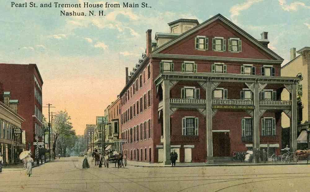 Nashua, New  Hampshire, USA (Dunstable) - Pearl St. and Tremont House from Main St., Nashua, N.H.