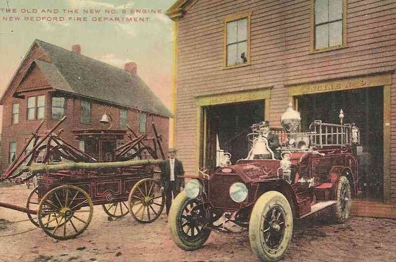 New Bedford, Massachusetts, USA - The Old and The New No. 9 Engine