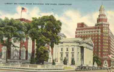 New Haven, Connecticut, USA - Library and Court House Buildings, New Haven, Connecticut