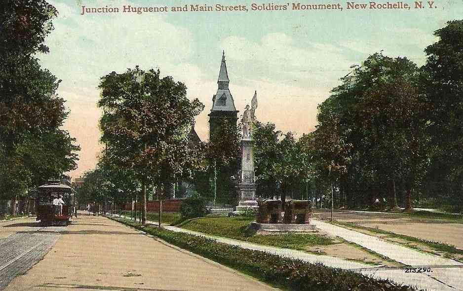 New Rochelle, New York, USA - Junction Huguenot and Main Streets, Soldiers' Monument, New Rochelle, N.Y.