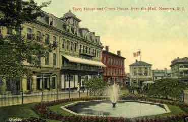 Newport, Rhode Island, USA - Ferry House and Opera House, from the Mall, Newport, R.I.