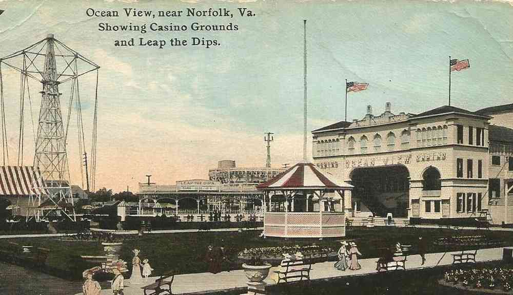 Norfolk, Virginia, USA - Ocean View, near Norfolk, Va. Showing Casino Grounds and Leap the Dips.
