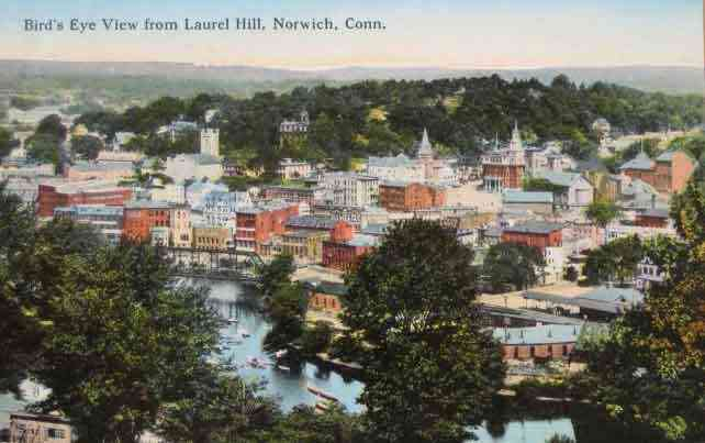 Norwich, New London, Connecticut, USA - Bird's Eye View from Laurel Hill, Norwich, Conn.