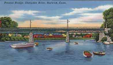 Norwich, New London, Connecticut, USA - Preston Bridge, Shetucket River, Norwich, Conn.