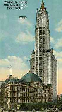 Manhattan, New York, USA (New York City) (New Amsterdam) - Woolworth Building from City Hall Park, New York City