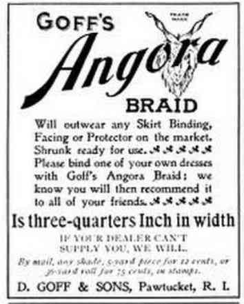 Pawtucket, Rhode Island, USA - Goff's Angora Braid