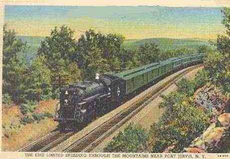 Port Jervis, Orange, New York, USA - The Erie Limited Speeding Through The Mountains Near Port Jervis, N.Y.