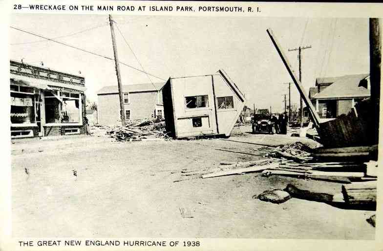 Portsmouth, Rhode Island, USA - Wreckage on the Main Road at Island Park, Portsmouth, R.I.