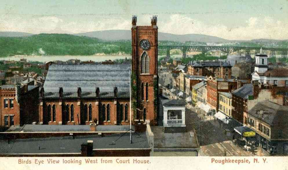 Poughkeepsie, New York, USA - Birds Eye View looking West from Court House