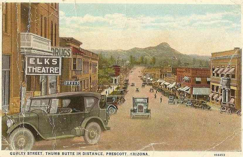 Prescott, Arizona, USA - Gurley Street, Thumb Butte in Distance, Prescott, Arizona