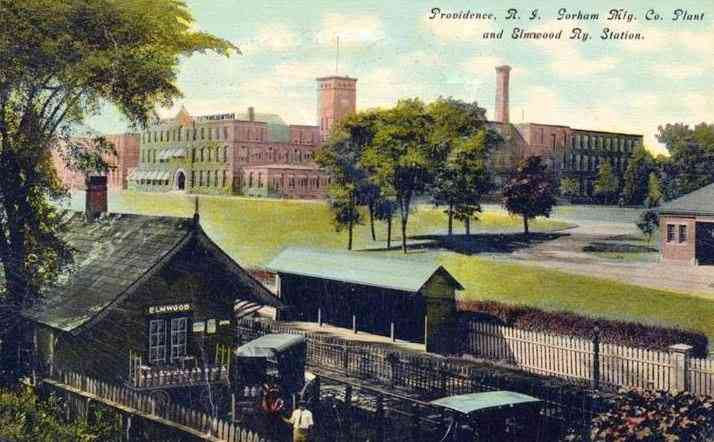 Providence, Rhode Island, USA - Gorham Mfg. Co. Plant and Elmwood Railway Station