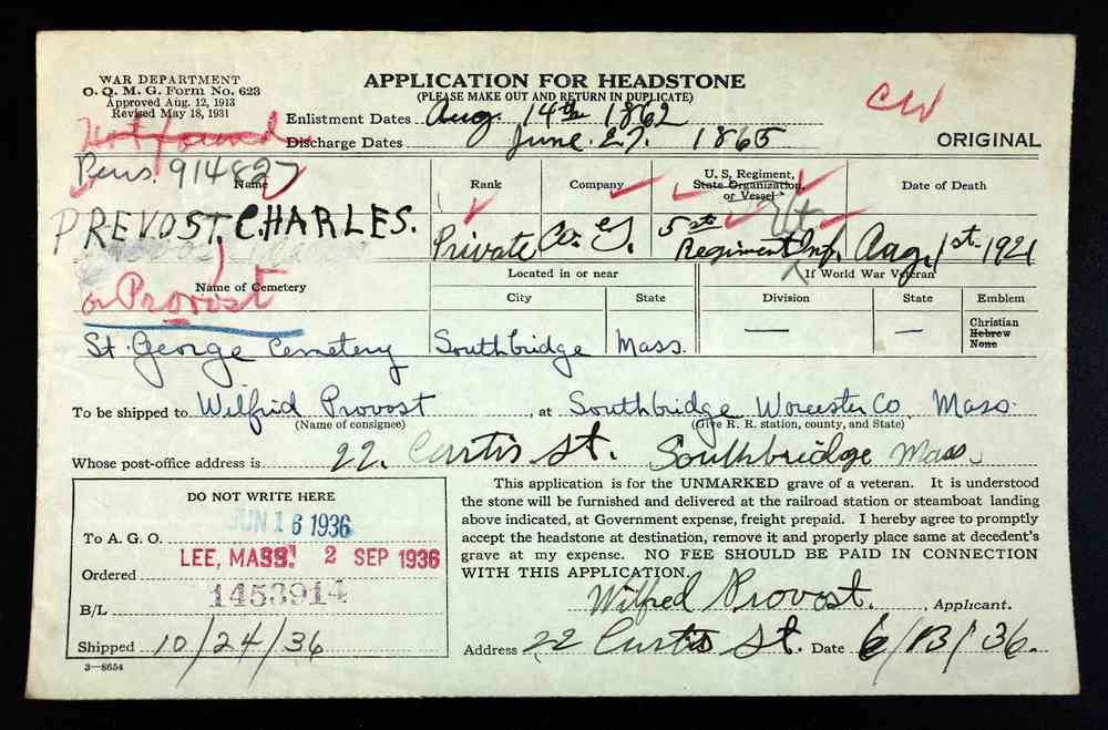 Charles PROVOST - Application for Headstone