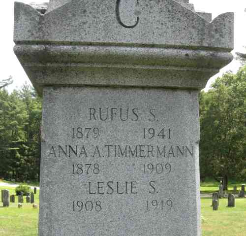 She was kicked out of her grave, which was kicked out of the cemetery... - Grave of Rufus Seymour Chaffee and relocated graves of Anna A. Timmerman Chaffee and Leslie Seymour Chaffee - Quabbin Park Cemetery, Ware, Massachusetts