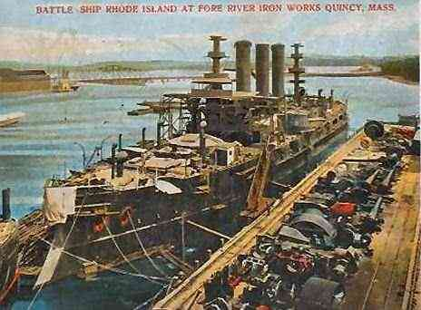 Quincy, Massachusetts, USA - Battle Ship Rhode Island At Fore River Iron Works Quincy, Mass. (1906)