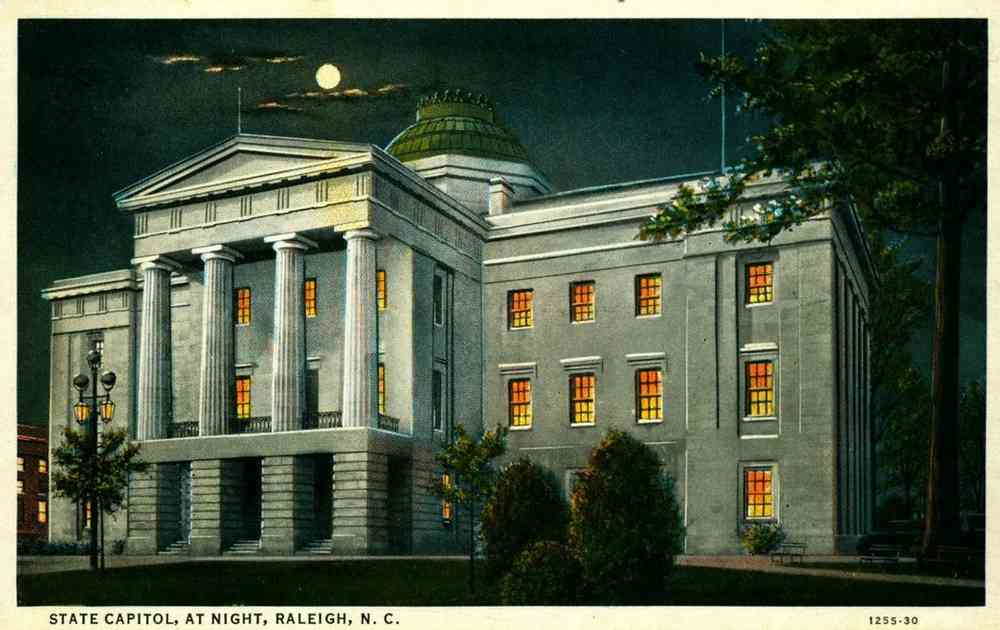 Raleigh, North Carolina, USA - State Capitol, At Night, Raleigh, N.C.