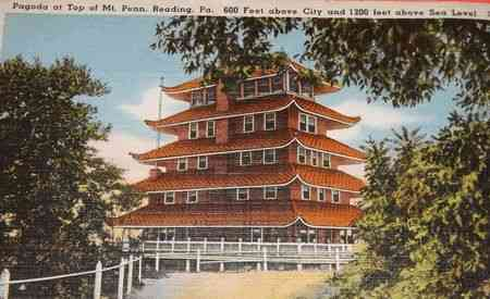 Reading, Berks, Pennsylvania, USA - Pagoda at Top of Mt. Penn, Reading, Pa. 500 Feet above City and 1200 feet above Sea Level