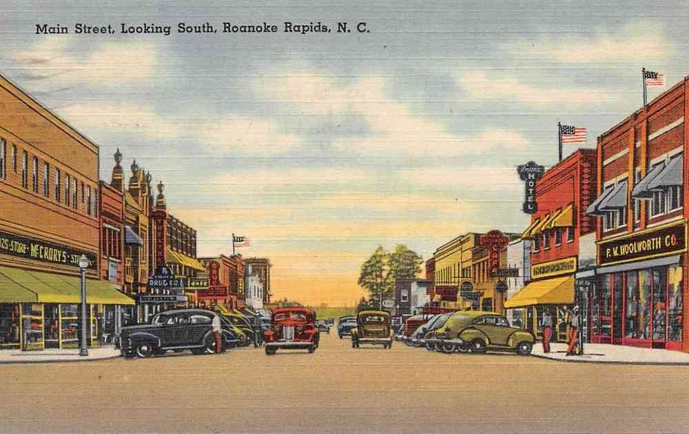 Roanoke Rapids, North Carolina, USA - Main Street, Looking South, Roanoke Rapids, N.C.