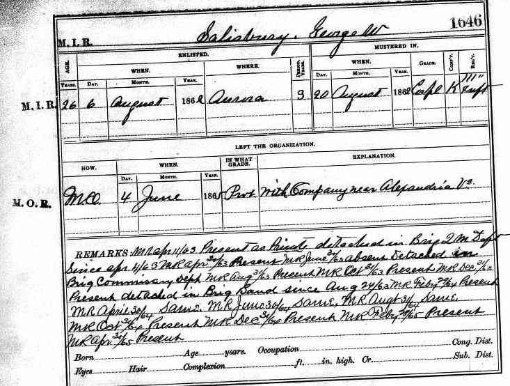 George Washington Salisbury - New York, Civil War Muster Roll Abstracts, 1861-1900