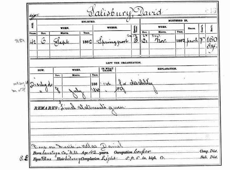 David Salisbury - New York, Civil War Muster Roll Abstracts, 1861-1900